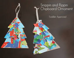 toddler approved rippin and snippin chipboard ornament