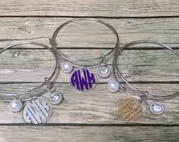 Monogrammed Bangle Bracelet Monogrammed Bracelet Etsy