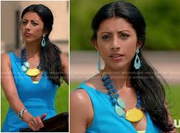 yellow turquoise necklace images Wornontv divya 39 s turquoise blue v neck dress and yellow statement jpg