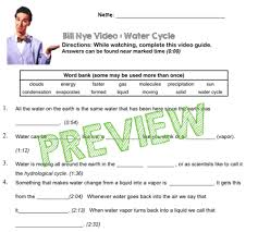 bill nye video questions water cycle w time stamp word bank