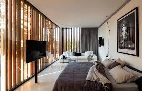 artful wood slats and concrete create chic minimalist retreat