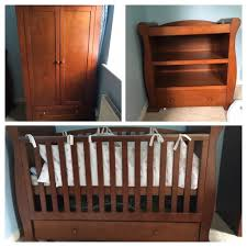 Dark Brown Changing Table by Cot Bed Changing Table Wardrobe Solid Dark Wood Baby