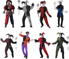 harlequin halloween costumes mens evil jester halloween costume scary harlequin fancy