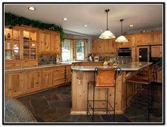 Alder Kitchen Cabinets by White Granite With Rustic Hickory Or Knotty Alder Cabinets Black