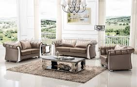 Steel Living Room Furniture Fs008 Luxury Contemporary Gold Pearl Shine Italian Leather