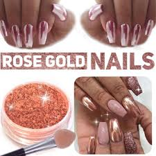 new rose gold nail mirror powder nails glitter chrome powder nail