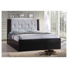 White Leather Platform Bed Leather Platform Bed White Hodedah Import Target