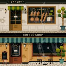 Bakery Design Floor Plan by Retro Flat Design Of Coffee Shop And Bakery Facades Royalty Free