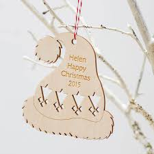 hat personalised tree ornament by wooden gallery