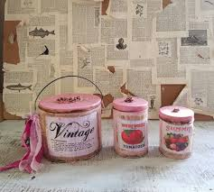 pink shabby cottage decorative canister sets kitchen storage