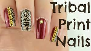 nail art tutorial red and tan tribal nails with chains stamping