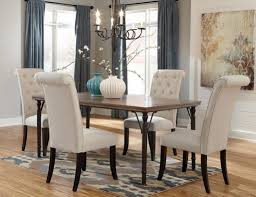 beautiful upholstered dining chairs with nailheads in interior