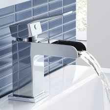 chrome waterfall basin sink mixer tap modern luxury bathroom lever