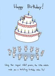 happy birthday rabbit cake card 3 50 via etsy conejos