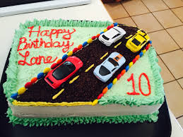 easy race track birthday cake for car or wheels themed kids