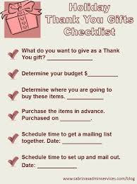 what to give as a thank you gift thank you gifts checklist sabrina s admin services