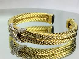 double bangle bracelet images David yurman 14k two tone gold 1tcw diamond double cable x bangle jpg