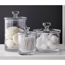 Glass Bathroom Storage Jars Glass Canisters Glass Canisters Crates And Barrels