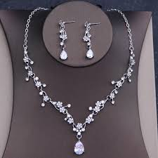 prom necklace dower me shine flower wedding prom necklace earrings set silver