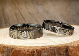Promise Ring Engagement Ring And Wedding Ring Set by Your Actual Finger Print Rings His And Her Promise Rings Black