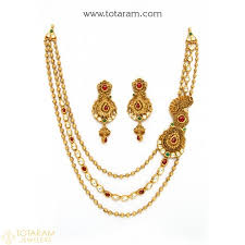 set of gold 22k gold antique necklace sets indian gold jewelry from totaram