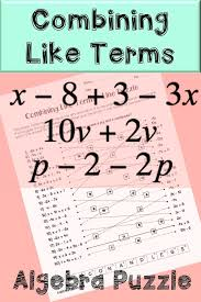 combining like terms algebra puzzle activity students combine