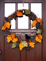Halloween Fabric Wreath 8 Diy Fall Wreaths To Dress Up Your Front Door Hgtv U0027s Decorating