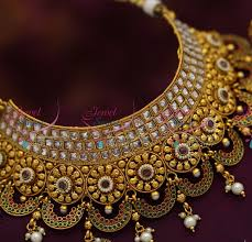 wedding jewelry choker necklace images Ch0974 broad choker necklace antique ad stones grand wedding JPG