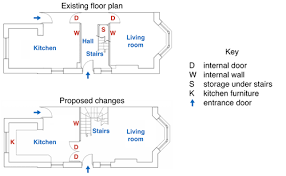 the diagrams below show the existing ground floor plan of a house