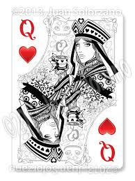 Playing Card Design Template The Queen Of Hearts Playing Card Sketch2draw Com Kk