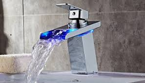 water power no battery 3 color led waterfall faucet bathroom