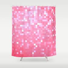 Pink Sparkle Curtains Bubblegum Pink Pixel Sparkle Shower Curtain By Vintageby2sweet