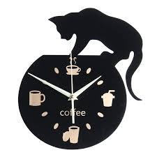 silent cartoon wall clock cute climbing cat for drinking coffee