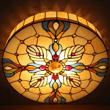 Yellow Glass Ceiling Light Stained Glass Ceiling Lamp Ebay