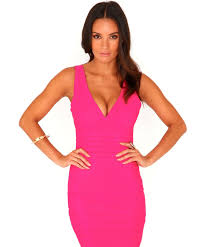 missguided leena bandage bodycon dress in neon pink in pink lyst