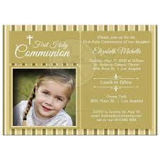 Holy Communion Invitation Cards Samples Gold Striped First Communion Invitation Photo Template