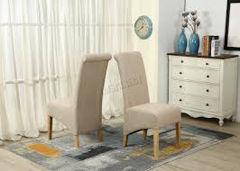 Chair Fabric Foxhunter New Linen Fabric Dining Chairs Roll Top Scroll High Back