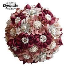 burgundy flowers kyunovia 3pc set satin wedding bouquet burgundy photograph bridal