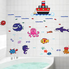 online get cheap fish room design aliexpress com alibaba group creative cartoon boat and fish design wall stickers for children s room bathroom carved waterproof protection diy