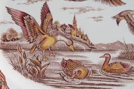 transferware china thanksgiving duck platter flying