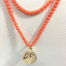 long orange necklace images Buy fashion orange red artificial coral design jpg