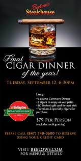 dinner and a gift card cigar dinner at beelow s steak house