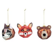 animal christmas decorations box of 3