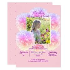 style flower floral watercolor pink purple girl birthday party card floral