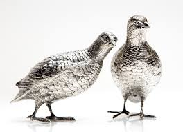 a pair of cast silver partridge table ornaments 1972
