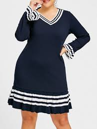 plus sweater dress 2018 bell sleeve striped plus size sweater dress purplish blue xl