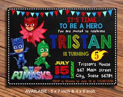 pj masks birthday invitation etsy