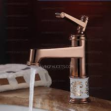 Gold Bathroom Faucet by Classical Ceramic Crystal Decoration Rose Gold Bathroom Faucets