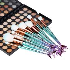 10pcs mermaid cosmetic brushes kit makeup foundation eyeshadow