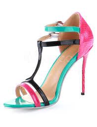 multi color snake print open toe cowhide fashion gladiator